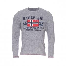 Tee-shirt manches longues Napapijri en coton gris chiné à motif