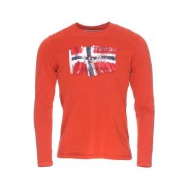 Tee-shirt manches longues Napapijri orange brûlée imprimé à l'avant