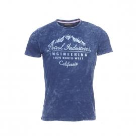 Tee-shirt Petrol Industries bleu indigo effet délavé à imprimé