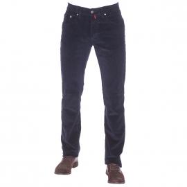 Pantalon droit Pierre Cardin en velours bleu marine