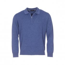 Pull col zippé Pierre Cardin en laine vierge bleu chiné