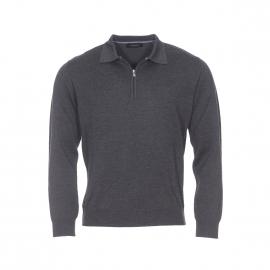 Pull col zippé Pierre Cardin en laine vierge gris anthracite
