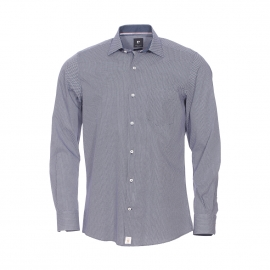Chemise droite Pierre Cardin en coton bleu marine à motifs blancs