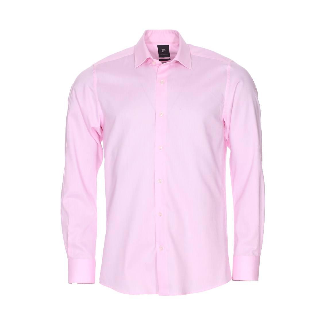 Chemise droite  en popeline de coton rose pâle