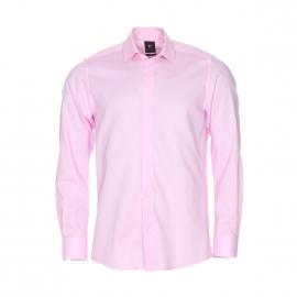 Chemise droite Pierre Cardin en popeline de coton rose pâle