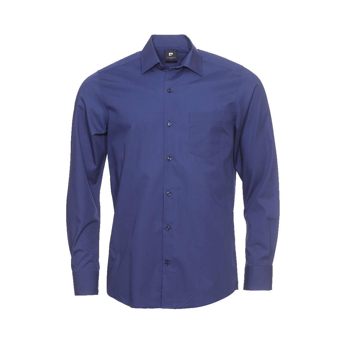 chemise droite pierre cardin en coton bleu marine rue des hommes. Black Bedroom Furniture Sets. Home Design Ideas