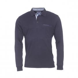 Polo manches longues Pierre Cardin en coton bleu marine