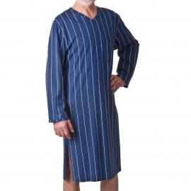 Liquette col V Ringella ouverte dans le dos en coton à petits carreaux bleu marine et bleus et à rayures blanches et kaki