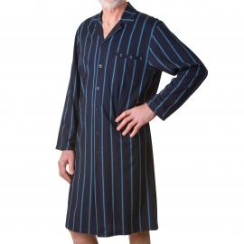 Liquette chemise Ringella ouverte dans le dos en coton bleu marine à rayures crantées bleu clair et grises