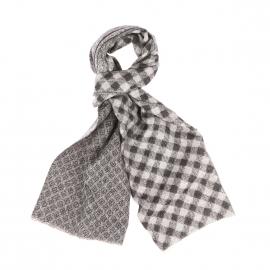 Echarpe Scotch & Soda en laine mélangée douce grise à motifs et carreaux noirs
