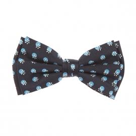 Nœud Papillon rétro Scotch & Soda à double nœud, bleu marine à pois bleu cyan et petites fleurs jaune clair