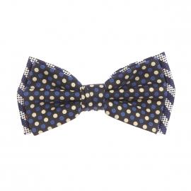 Nœud Papillon rétro Scotch & Soda à double nœud : 1 à rayures bleu marine et argentées et 1 noir à pois bleu marine et jaune clair