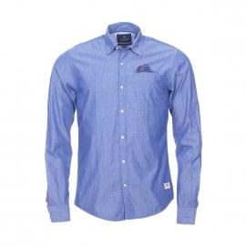 Chemise ajustée Scotch and Soda en coton bleu à pois bleu clair et bleu marine