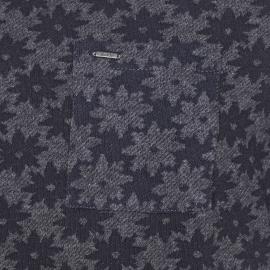 Sweat léger Scotch & Soda gris chiné à motifs fleurs bleu marine