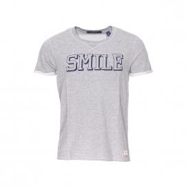 Tee-shirt col rond Scotch & Soda en coton et viscose gris chiné à imprimé
