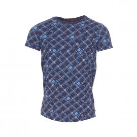 Tee-shirt col rond Scotch & Soda bleu marine à motifs bleu azur et beige