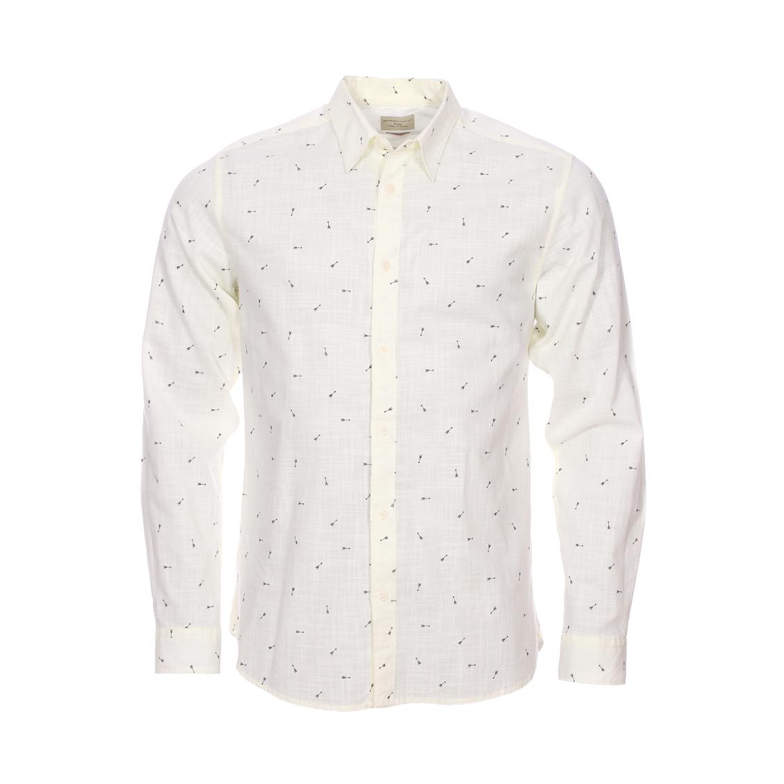 Chemise cintrée  fil à fil crème à motifs \