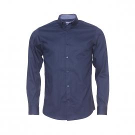 Chemise cintrée Selected bleu marine à opposition à petits carreaux blancs