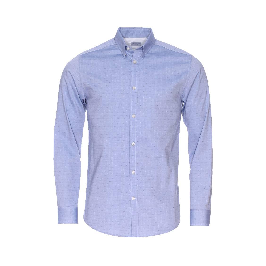 Chemise cintrée  fil à fil bleu à motifs losanges bleus et blancs