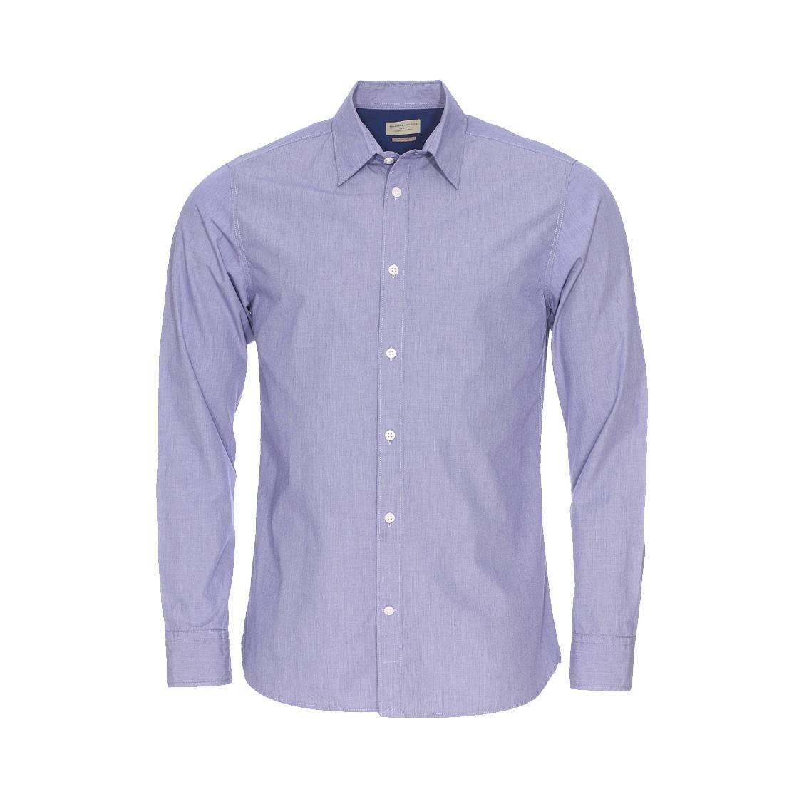 Chemise cintrée  fil à fil bleu grisé