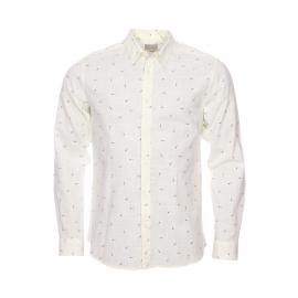Chemise cintrée Selected fil à fil crème à motifs