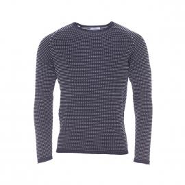 Pull col rond Selected en coton à mailles côtelées bleu marine à petits motifs blancs