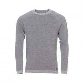 Pull col rond Selected en coton à mailles gris chiné