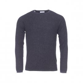 Pull léger col rond Selected en mailles tricotées bleu nuit et noires