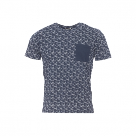 Tee-shirt col rond Selected Heritage bleu marine à motifs