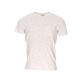 Tee-shirt col rond Selected crème chiné à motifs flèches