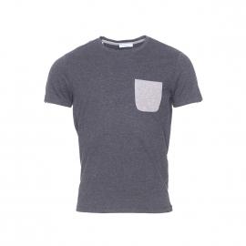 Tee-shirt col rond Selected gris anthracite moucheté