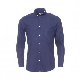 Chemise droite Serge Blanco en coton bleu marine