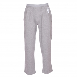 Pyjama long Serge Blanco : tee-shirt manches longues col V et pantalon gris chiné