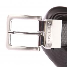 Coffret ceinture ajustable Serge Blanco en cuir grainé noir à boucles interchangeables, 1 boucle classique et 1 boucle pleine