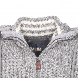 Gilet zippé Superdry en laine mélangée gris chiné
