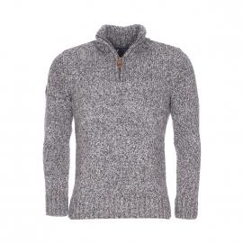 Pull col zippé Henley Superdry en laine mélangée à maille torsadée gris chiné