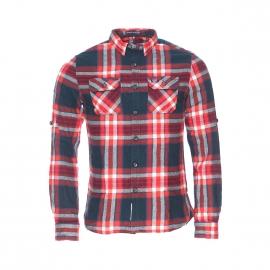 Chemise ajustée Superdry en coton à carreaux rouges et bleu marine