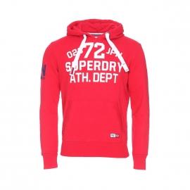 Sweat à capuche Trackster Superdry rouge floqué en blanc