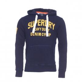 Sweat à capuche Heavy Duty Superdry bleu nuit imprimé à l'avant