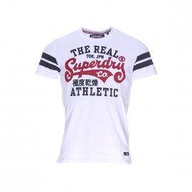 Tee-shirt col rond Superdry en coton blanc à imprimé bleu marine et rouge