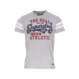 Tee-shirt col rond Superdry en coton gris chiné à imprimé bordeaux et bleu marine