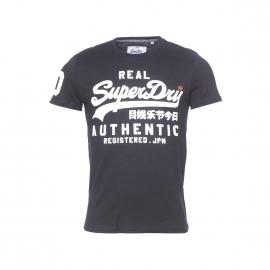 Tee-shirt col rond Superdry noir à imprimé blanc
