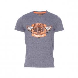Tee-shirt col rond Superdry bleu marine chiné et imprimé en orange