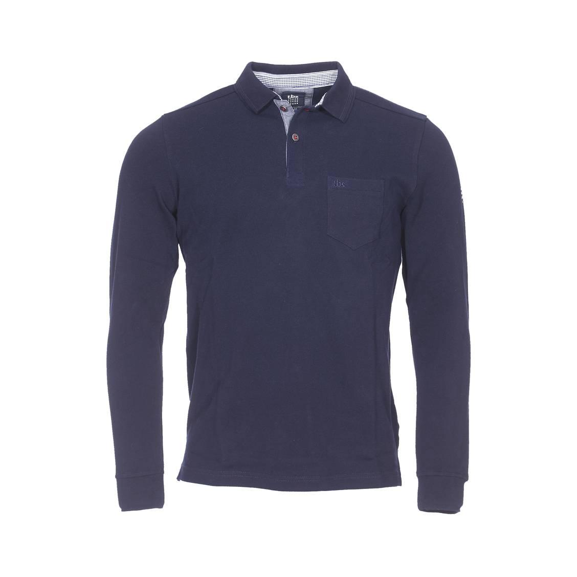 Polo manches longues TBS Amipol en coton piqué bleu marine   Rue Des ... 9b097418ce4e
