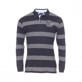 Polo manches longues Bropol TBS en coton noir à fines rayures grises brodé