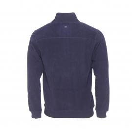 Pull col zippé TBS en coton bleu nuit