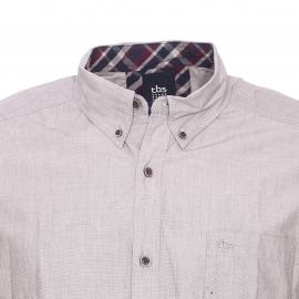 Chemise droite Elache TBS en coton dune à opposition à carreaux