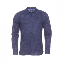 Chemise cintrée Cut Teddy Smith en coton bleu marine à petits motifs blanc