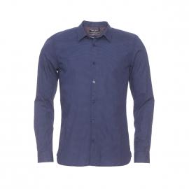 Chemise cintrée Cut Teddy Smith en coton bleu marine à petits pois vert pâle