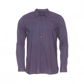 Chemise ajustée Casot Teddy Smith en coton bleu marine à petits motifs rouge pâle et gris
